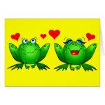 Cute Green Cartoon Frogs Love Hearts Yellow Blank Card
