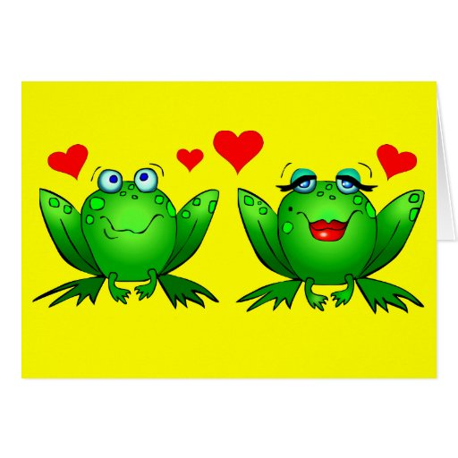 Cute Green Cartoon Frogs Love Hearts Yellow Blank Cards
