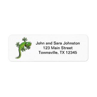 Cute Green Cartoon Gecko Label
