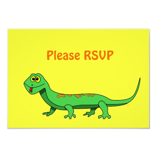 Cute Green Cartoon Lizard Kids Reptile Card