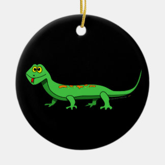 Cute Green Cartoon Lizard Kids Reptile Double-Sided Ceramic Round Christmas Ornament
