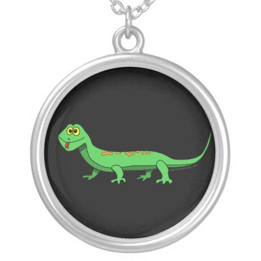 Cute Green Cartoon Lizard Kids Reptile Round Pendant Necklace