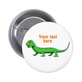 Cute Green Cartoon Lizard Kids Reptile Pinback Button