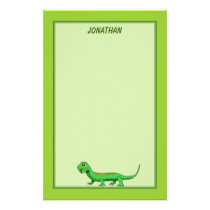 Cute Green Cartoon Lizard Kids Reptile Stationery