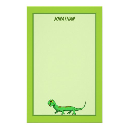 Cute Green Cartoon Lizard Kids Reptile Custom Stationery