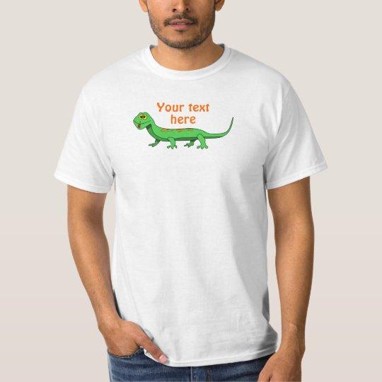 Cute Green Cartoon Lizard Kids Reptile T-Shirt