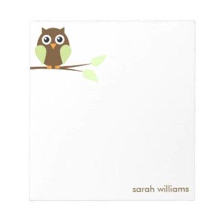 Cute Green Cartoon Owl Notepad