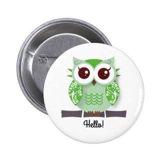 Cute green cartoon owl personalized text box pinback button