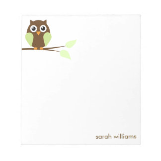 Cute Green Cartoon Owl Scratch Pads