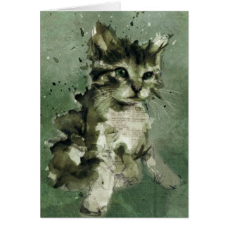 Cute green cat Watercolor Painting Illustration Card
