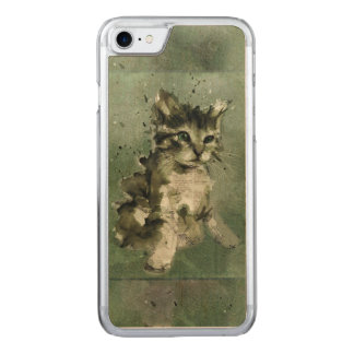 Cute green cat Watercolor Painting Illustration Carved iPhone 7 Case