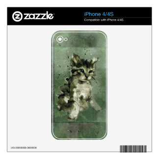 Cute green cat Watercolor Painting Illustration Decal For The iPhone 4