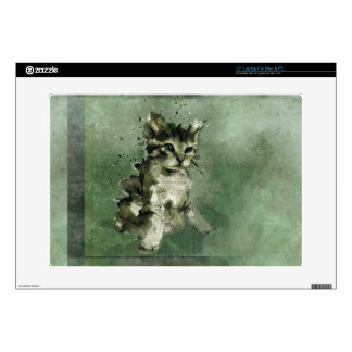 "Cute green cat Watercolor Painting Illustration Decals For 15"" Laptops"