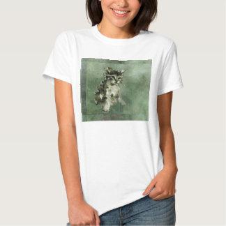 Cute green cat Watercolor Painting Illustration Tshirt