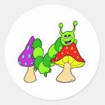Cute Green Caterpillar Classic Round Sticker