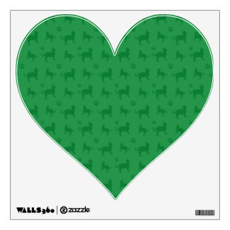 Cute green cats and paws pattern wall skins