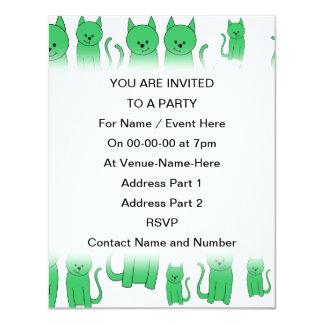 Cute Green Cats. Card