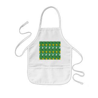 Cute green chick bunny egg basket easter pattern kids' apron
