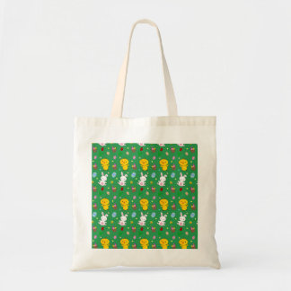 Cute green chick bunny egg basket easter pattern budget tote bag