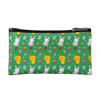 Cute green chick bunny egg basket easter pattern cosmetics bags