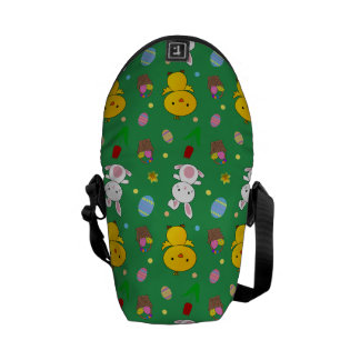 Cute green chick bunny egg basket easter pattern courier bag