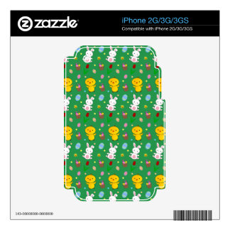 Cute green chick bunny egg basket easter pattern skins for iPhone 2G