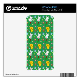 Cute green chick bunny egg basket easter pattern decals for iPhone 4