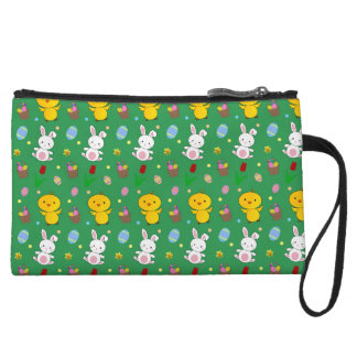 Cute green chick bunny egg basket easter pattern wristlet purses