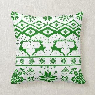 Cute Green Christmas Knitted Reindeer Throw Pillow