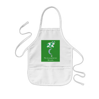 Cute Green Cow Jumping Over The Moon Aprons