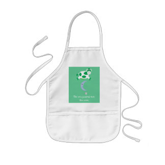 Cute Green Cow Jumping Over The Moon Kids' Apron