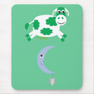Cute Green Cow Jumping Over The Moon Mouse Pad