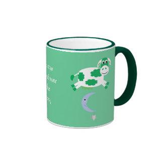Cute Green Cows Jumping Over The Moon Ringer Mug