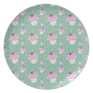 Cute Green Cupcake Pattern Melamine Plate