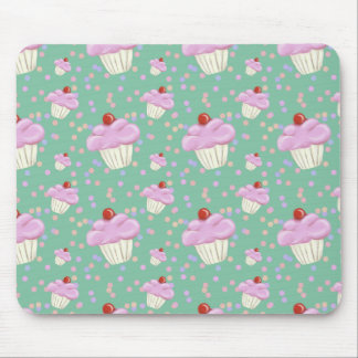 Cute Green Cupcake Pattern Mouse Pad