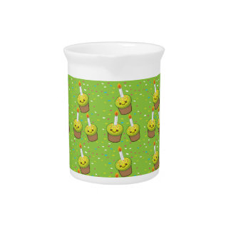 Cute green cupcakes with candles repeating pattern drink pitcher