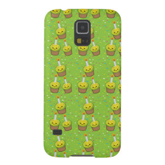 Cute green cupcakes with candles repeating pattern galaxy s5 cover
