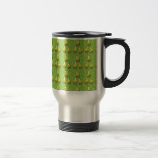 Cute green cupcakes with candles repeating pattern 15 oz stainless steel travel mug