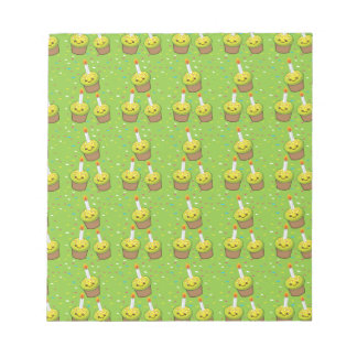 Cute green cupcakes with candles repeating pattern notepad