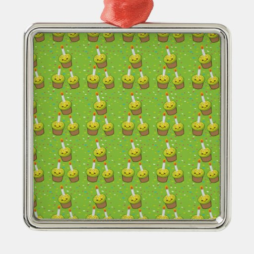 Cute green cupcakes with candles repeating pattern ornament