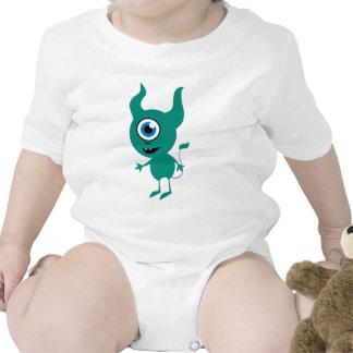 Cute Green Cyclops Baby Bodysuits