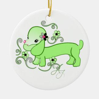 Cute Green Dachshund Ceramic Ornament