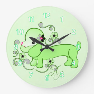 Cute Green Dachshund Large Clock
