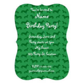 Cute green dachshund pattern 5x7 paper invitation card