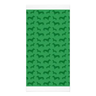 Cute green dachshund pattern picture card