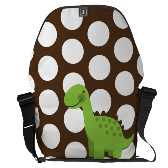 Cute Green Dino Chocolate Brown White Polka Dots Courier Bag