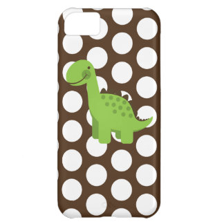 Cute Green Dino Chocolate Brown White Polka Dots iPhone 5C Cover
