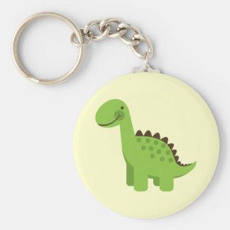 Cute Green Dinosaur Basic Round Button Keychain
