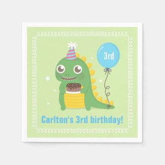 Cute Green Dinosaur Birthday Party Supplies Napkin