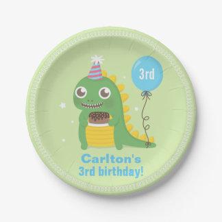 Cute Green Dinosaur Birthday Party Supplies Paper Plate